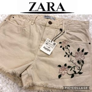 Zara cream denim / jeans shorts